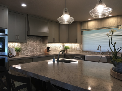 Custom gray kitchen cabinets